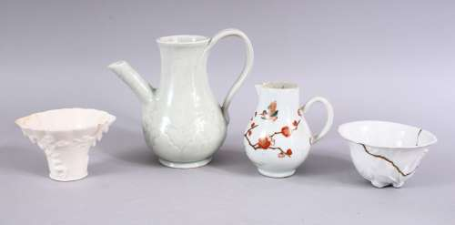 A MIXED LOT OF 18TH / 19TH CENTURY CHINESE ITEMS, comprising two bland de chine libation cups, one
