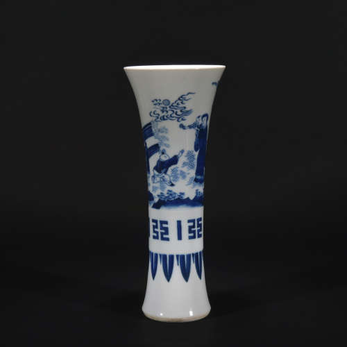 Ming dynasty blue-and-white figure vase with flowers