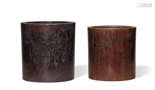 Two zitan brushpots, bitong Qing Dynasty