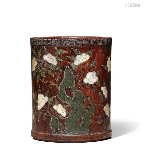 A rare zitan inlaid 'flowers and bird' brushpot, bitong 17th century