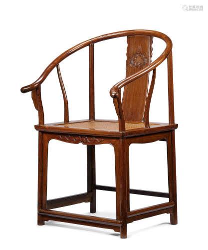 A huanghuali horseshoe-back armchair, quanyi 17th/18th century