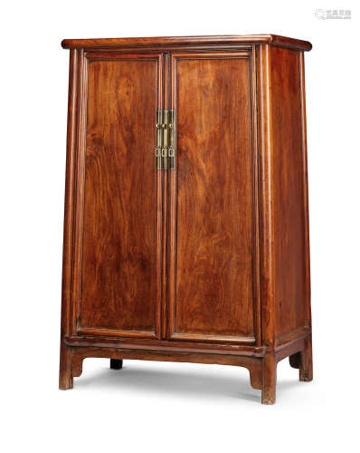 A huanghuali round-corner tapered cabinet, yuanjiaogui Mid Qing Dynasty