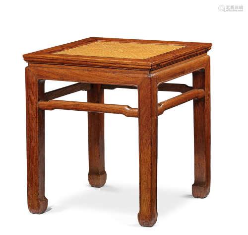 A huanghuali corner-leg stool, fangdeng Mid Qing Dynasty