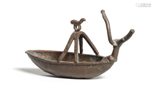 A Sardinian bronze boat-shaped lamp