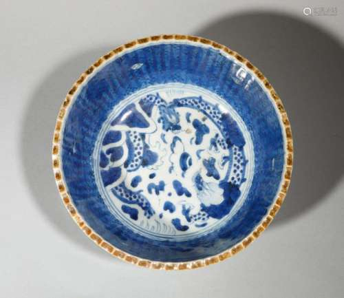 Bol à décor bleu blanc en porcelaine. Chine, Qing,…