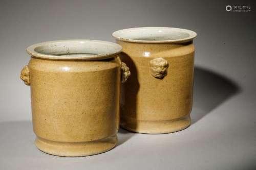 Paire de terrines en porcelaine blanche à couverte…