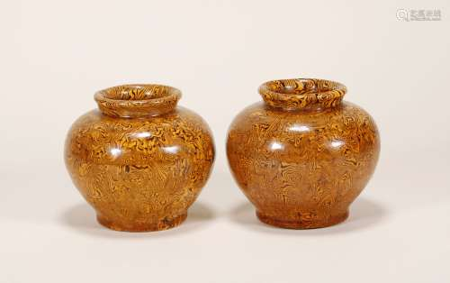Tang Dynasty - Pair of Colored Jars