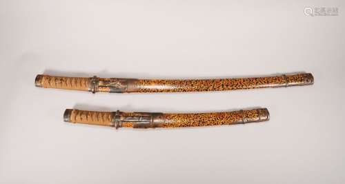 Pair of Japanese Colored Leather Wrap Katana