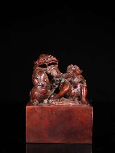 A Chinese Boxwood Beast Carved Seal