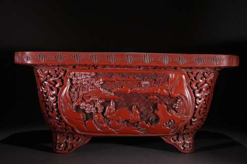 A Chinese Red Lacquerware Story Carved 4-Leg Censer