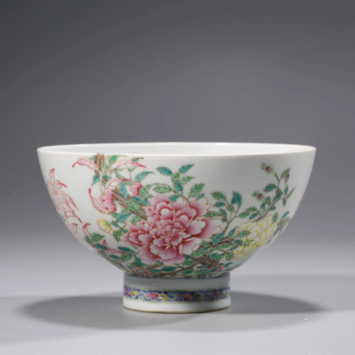 A DOUCAI PEONY BOWL WITH THE MARK