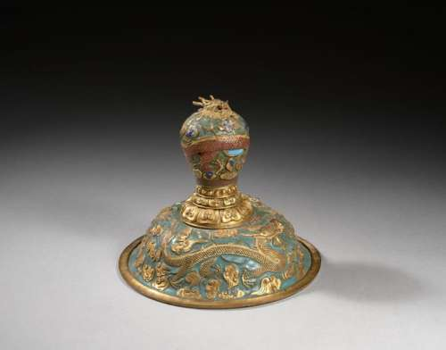 GOLDEN BRONZE AND BLUE ENAMELED COVER, China, Qing…