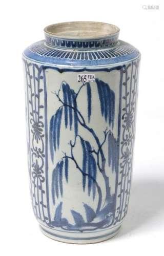 Vase en porcelaine bleue et blanche d'Arita à déco…