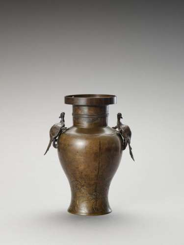 A Bronze Baluster Vase With Mi…