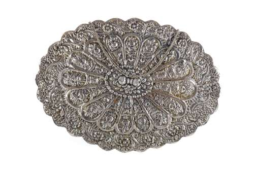 AN INDIAN WHITE METAL WALL MIRROR