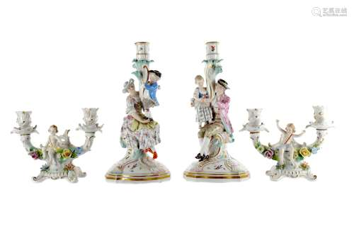 A PAIR OF 19TH CENTURY MEISSEN FIGURAL TABLE CANDLESTICKS