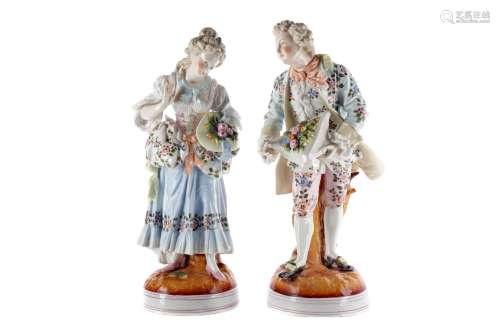 A PAIR OF LATE 19TH CENTURY GERMAN FIGURES ALONG WITH A RUSSIAN FIGURE