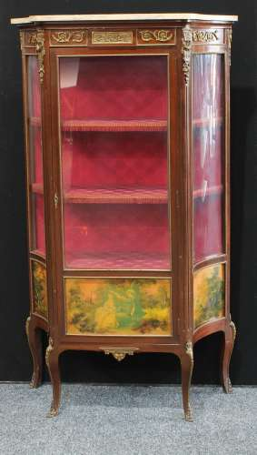 A Louis XV style gilt metal mounted mahogany and Vernis Martin shaped serpentine vitrine, marble top
