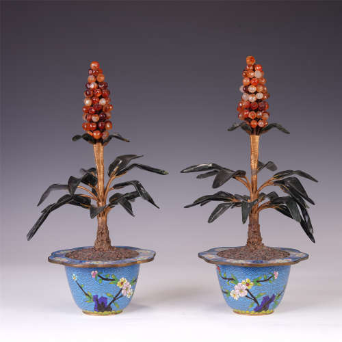 PAIR OF CHINESE ENAMEL FLOWERPOT WITH GEMSTONES POTTED LANDSCAPE