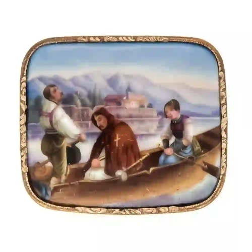 Gold-plated painting brooch around