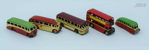Collection of vintage Dinky model buses/coaches . (5)