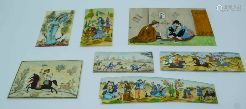Collection of Iranian small pictures painted on bone