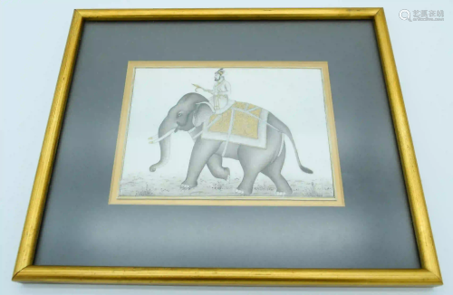 An Indian Painted bone panel depicting an elephant