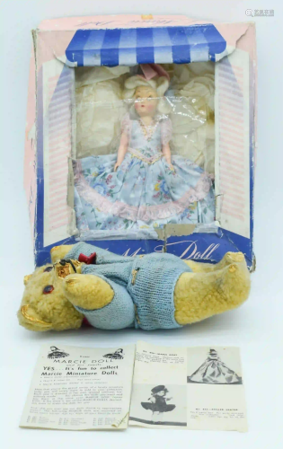 A Vintage teddy and a boxed Marcie Doll 23cm. (2)