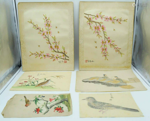 Collection of Chinese watercolours and silks largest