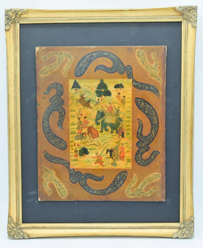 A framed 19th Century Iranian Qajar depicting a