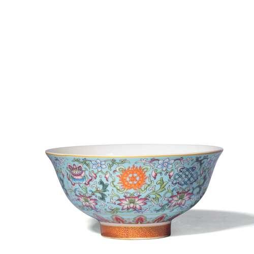 A Famille Rose Twining Lotus Pattern Porcelain Bowl, Qianlong Mark