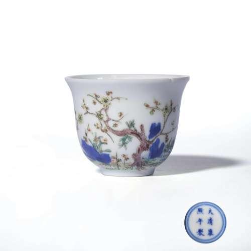 A Famille Rose Floral Porcelain Cup, Kangxi Mark