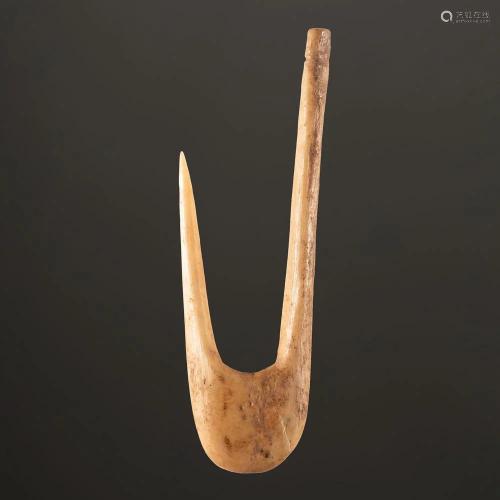 A Large Bone Fish Hook, 4 in.