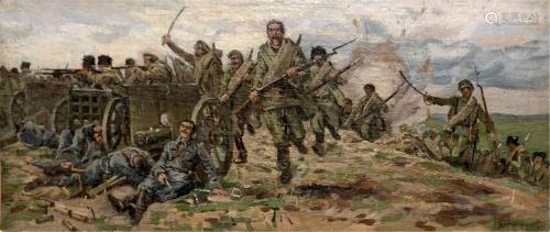 BURYACHOK IVAN MARTYNOVICH OIL PAINTING WAR