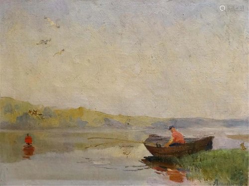 ATLANTOV VLADIMIR NIKOLAEVICH OIL PAINTING FISHING
