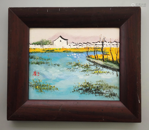 CHINESE OIL PAINTING OF LANDSCAPE ON CANVAS SIGNED BY