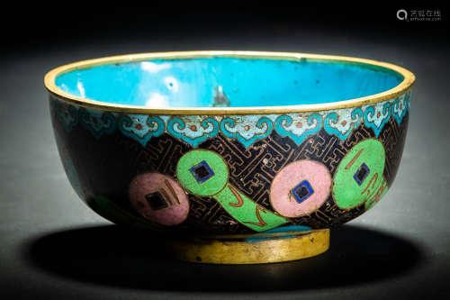 七寶 景泰藍 古銭紋碗