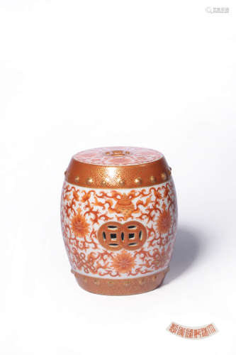 A CHINESE IRON-RED BLUE AND WHITE CARVED EIGHT IMMORTALS PORCELAIN GARDEN STOOL