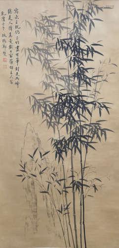 A CHINESE BAMBOO INK PAINTING SCROLL ZHENG BANQIAO MARK