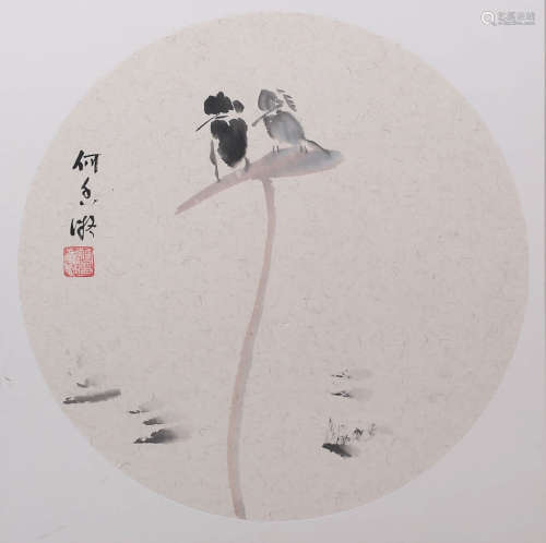 A LOTUS&BIRDS PAINTING WITH FRAME HE XIANGNING MARK