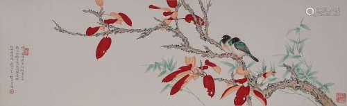 A FLOWER&BIRDS PAINTING REN ZHONG MARK
