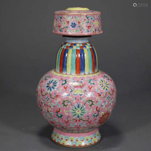 A FAMILLE ROSE LOTUS AND EIGHT TREASURES PORCELAIN POT