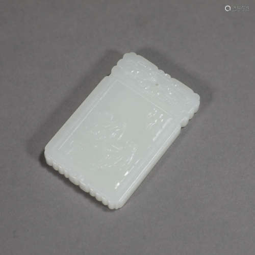 A FIGURE WHITE JADE PENDANT