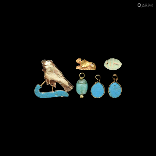 Egyptian Gold and Composition Amulet Group