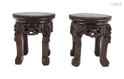 PAIR 19TH-CENTURY CHINESE HARDWOOD STANDS