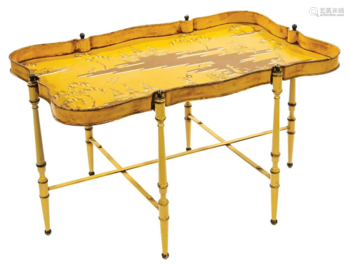 Yellow Tole Peinte Gallery Tray Table