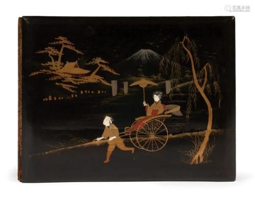 Japanese Embellished Black Lacquer Photo Album