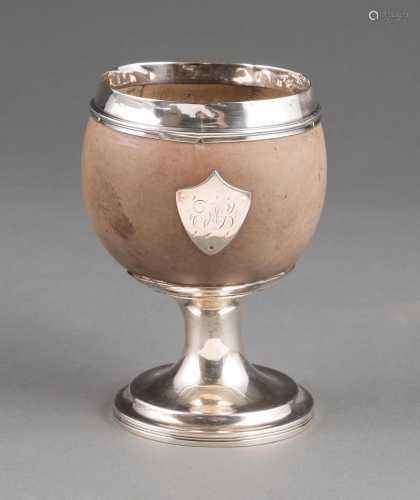 Georgian Sterling Silver-Mounted Coconut Goblet