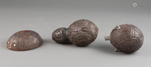 Three Antique Carved Coconuts