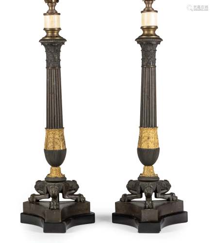 Gilt and Patinated Bronze Candle Standards